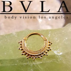 "BVLA 14kt Gold ""Afghan"" Septum Clicker Nose Ring 12 Gauge 12g Body Vision Los Angeles"