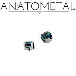 Anatometal Titanium Threaded 2.5mm Prong-Set Faceted Gem End 18 Gauge 16 Gauge 14 Gauge 12 Gauge 18g 16g 14g 12g