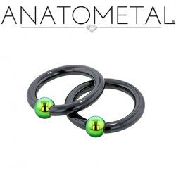 Anatometal Niobium Captive Bead Ring with Titanium Bead 4 Gauge 4g