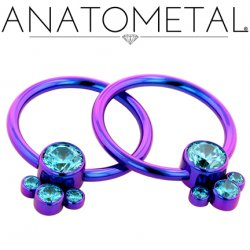 Anatometal Titanium Bezel-Set Captive Gem Cluster Ring 14g