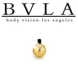 BVLA 14kt Gold Internal Threaded Replacement Ball 18g - 10g Body Vision Los Angeles