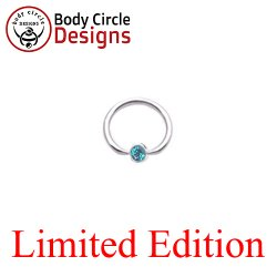"Body Circle Surgical Stainless Steel 5/8"" Flat Tip Captive Bead Ring with Faceted Light Blue Captive Bezel Gem 14 Gauge 14g"