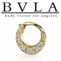 "BVLA 14kt Gold ""Bombay Twilight"" Nose Nostril Septum Ring 14 Gauge 14g Body Vision Los Angeles"