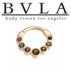 "BVLA 14kt Gold ""Lynx"" Nose Nostril Septum Clicker Ring 14 Gauge 14g Body Vision Los Angeles"