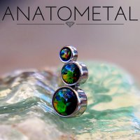 Anatometal Titanium 3 Gem Cluster Curve Threaded End 4mm 3mm 2mm 18 gauge 16 gauge 14 Gauge 12 Gauge 18g 16g 14g 12g