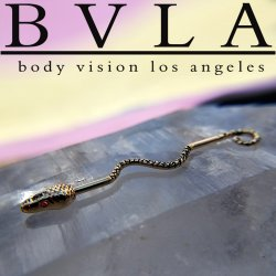 "BVLA 14kt Gold ""Serpent"" Industrial Barbell with Gem Eyes 14 gauge 14g Body Vision Los Angeles"