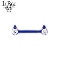 Le Roi Titanium Side-set Gem Barbell Two 3 Bead Accents 14 Gauge 12 Gauge 14g 12g