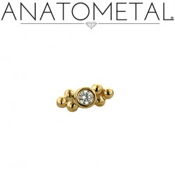 Anatometal 18kt Gold 2 Cluster Sabrina End 1.5mm gem 18g 16g 14g 12g