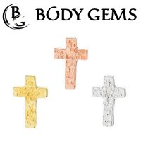 "Body Gems 14kt Gold Hammered ""Cross"" Threaded End Dermal Top 18 Gauge 16 Gauge 14 Gauge 12 Gauge 18g 16g 14g 12g"