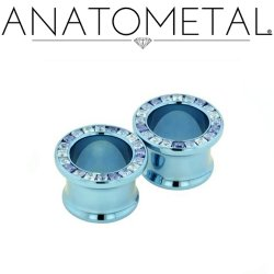Anatometal Titanium Princess Cut Gem Bling Eyelet 0g - 7/8""