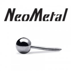 "16 Gauge 16g NeoMetal Threadless Titanium Ball 3/32"" for Curved Barbells ""Press-fit"""