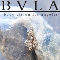 BVLA 14kt Yellow White Rose Gold Sarai Threaded End Genuine Diamond 18g 16g 14g 12g Body Vision Los Angeles