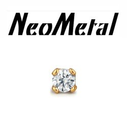 "18 Gauge 18g NeoMetal Threadless 2.5mm Prong-set Genuine Diamond End 14kt 14kt 14 Karat Gold ""Press-fit"""
