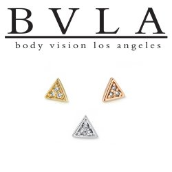 BVLA 14kt Yellow White Rose Gold Micro Pave Triangle Nostril Screw Nose Bone Ring Stud Nail 20g 18g 16g Body Vision Los Angeles