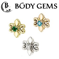 "Body Gems 14kt Gold ""Shield"" Threaded End Dermal Top 18 Gauge 16 Gauge 14 Gauge 12 Gauge 18g 16g 14g 12g"