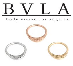 "BVLA 14kt Gold ""Janna"" Pave Texture Septum Clicker Hinge Ring 14 Gauge 12 Gauge 14g 12g Body Vision Los Angeles"