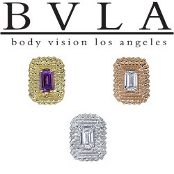 "BVLA 14Kt Gold ""Afghan"" Baguette Threaded End Dermal Top 18g 16g 14g 12g Body Vision Los Angeles"