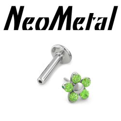 "16 Gauge 16g NeoMetal Titanium Universal Threadless Flatback Labret Post with 5-Gem Flower End ""Press-fit"""