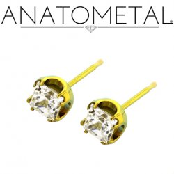 Anatometal Titanium 4mm Princess Earrings (Pair)
