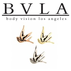 "BVLA 14kt Gold ""Swallow"" Antique Finish Threaded End Dermal Top 18g 16g 14g 12g Body Vision Los Angeles"