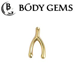 "Body Gems 14kt Gold ""Wishbone"" Threaded End Dermal Top 18 Gauge 16 Gauge 14 Gauge 12 Gauge 18g 16g 14g 12g"