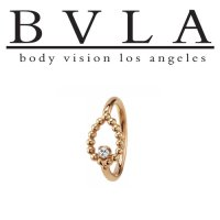 "BVLA 14kt Gold ""Sophie Tear"" Navel Ring 16 Gauge 16g Body Vision Los Angeles"