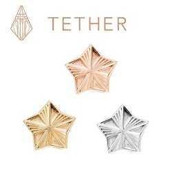 "Tether 14Kt Gold 5-Point Star Threadless End 18 Gauge 18g ""Press-fit"""