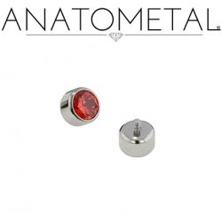 Anatometal Titanium Threaded 3mm Bezel-set Faceted Gem End 10 Gauge 8 Gauge 10g 8g