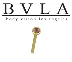 BVLA 14kt Yellow White Rose Gold Amethyst Cabochon Gem Nostril Screw Nose Bone Stud Ring Nail 20g 18g 16g Body Vision Los Angeles
