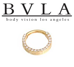 "BVLA 14kt Gold ""Gemmed Oaktier"" Nose Nostril Septum Ring 18g Body Vision Los Angeles"