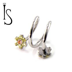 IS Surgical Steel Double Flower Top Spiral Barbell 16 Gauge 16g
