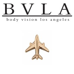 "BVLA 14kt Gold ""Airplane"" Threaded End Dermal Top 18g 16g 14g 12g Body Vision Los Angeles"