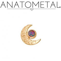 Anatometal 18Kt Hammered Gold Threaded Crescent Moon End 2.5mm Gem 18g 16g 14g 12g