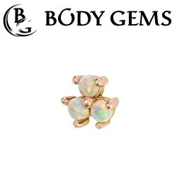 Body Gems 14kt Gold 3 Gem Cluster Threaded End Dermal Top 18 Gauge 16 Gauge 14 Gauge 12 Gauge 18g 16g 14g 12g