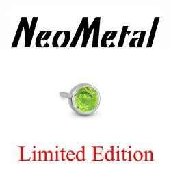 "18 Gauge 18g NeoMetal Limited Ed. Threadless Titanium Faceted Peridot Bezel 2.5mm ""Press-fit"""