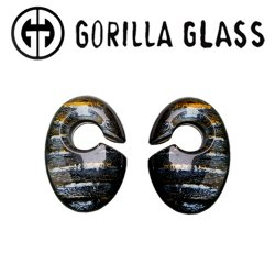 "Gorilla Glass Iridescent Ovoids 0.5oz Ear Weights 1/2"" And Up (Pair)"