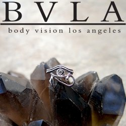 "BVLA 14kt Gold ""Eye Of Horus"" Threaded End Dermal Top 18g 16g 14g 12g Body Vision Los Angeles"