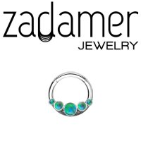 Zadamer Titanium Hinged Ring with 5 Gem Cluster Septum Clicker Daith Helix Hinged Ring 16 Gauge 14 Gauge 16g 14g