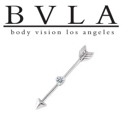 BVLA Gold Straight Through My Heart Arrow CZ Industrial Barbell 14g Body Vision Los Angeles