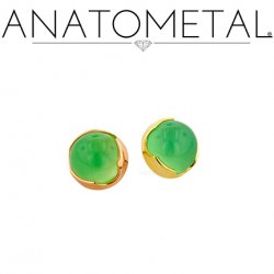 Anatometal 18kt Gold Threaded 3mm Prong-set Cabochon Gem End 18g 16g 14g 12g