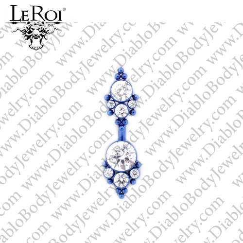 LeRoi Titanium Navel Curved Barbell with 2 Gem Clusters (5HN) 14 Gauge 14g - Click Image to Close