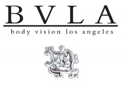"BVLA 14kt Gold ""Paloma Swirl"" Diamond Center Threaded End Dermal Top 18g 16g 14g 12g Body Vision Los Angeles"