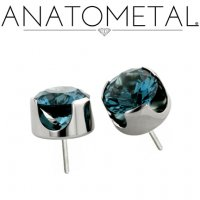 Anatometal Titanium Threadless 6mm Prong-Set Faceted Gem End 25g Pin (will fit 18g, 16g, 14g Universal Threadless Posts) Press-fit