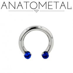 Anatometal Titanium Circular Barbell Front-set 2mm Prong-set Faceted Gems 12 Gauge 10 Gauge 8 Gauge 12g 10g 8g