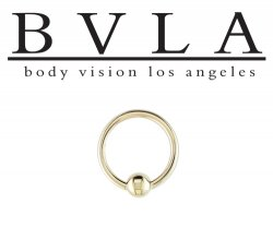BVLA 14kt Gold Fixed Bead Ring Or Captive Bead Closure Ring 16g Body Vision Los Angeles