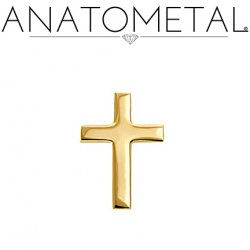 Anatometal 18Kt Gold Cross Threaded End 18g 16g 14g 12g