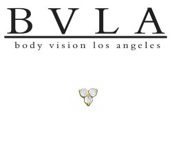"BVLA 14kt Gold ""Tri Prong Cluster"" 2.5mm Threaded End Dermal Top 18g 16g 14g 12g Body Vision Los Angeles"