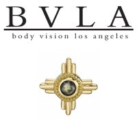 "BVLA 14Kt Gold ""Zia"" 10mm Threaded End Dermal Top 18g 16g 14g 12g Body Vision Los Angeles"