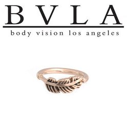 BVLA 14kt Gold Feather Ring Nose Nostril Septum Ring 16g Body Vision Los Angeles