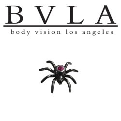 "BVLA 14Kt Gold ""Black Widow Spider"" Threaded End Dermal Top 18g 16g 14g 12g Body Vision Los Angeles"